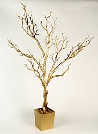 4 Foot Gold Tree in Decorative Pot - Bendable Branches