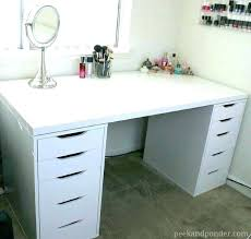White desk with drawers on both sides Ikea Makeup Vanity White Desk With Drawers Makeup On Both Sides Desk Unit Furniture Attivamenteinfo White Desk With Drawers On Both Sides Desk Unit Furniture