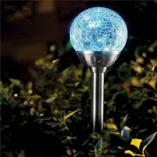 Solalite 4 X Stainless Steel Colour Changing Solar Crackle Ball Solar Garden Lamp Amazon