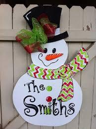 snowman wooden door hanger personalized by earthlizard 45 00