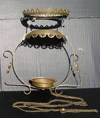 antique victorian art crafts chandelier light fixture brass for parts old chain