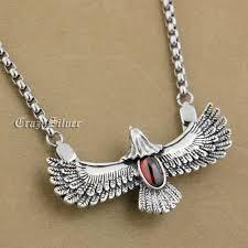 details about 925 sterling silver eagle red cz mens biker pendant 9s028a steel necklace 24
