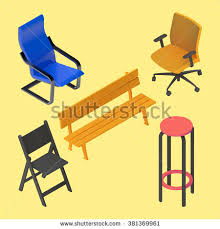 isometric office furniture vector collection. Chair, Armchair, Stool, Bench, Furniture Vector Isometric Set. Interior Collection Element Office