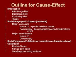 cause and effect a cause and effect essay may focus on causes of  outline for cause effect introduction attention grabber background info controlling idea thesis body paragraph