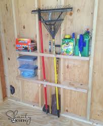 4 diy shed shelves between studs