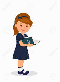 world book day cute little in a dark blue dress reading a book isolated character child standing