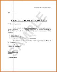 Certificate Of Employment With Compensation Format Salary Sample