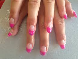 Gel nails with pink and glitter gelish gel polish - Nail Designs ...