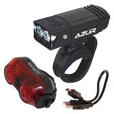 Usb Bicycle Light Set Azur 65 30 Lumens Usb Front And Rear Light Set