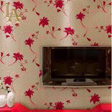 Red Wallpaper For Bedroom Online Buy Wholesale Red Floral Wallpaper From China Red Floral
