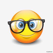 Fotografie Obraz Cute Smiling Emoticon Wearing Eyeglasses Emoji