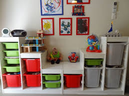 Modern Bedroom Shelves Furniture Green And Red And Gray Storage Bins For Toy Room With