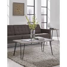 ameriwood home owen retro coffee table distressed gray oak metal gray com