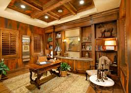 home office design ideas tuscan. Hardwood Exposed Interor Theme With Raise Coffered And Lumber Beams In Tuscan Style Home Office Design Ideas U