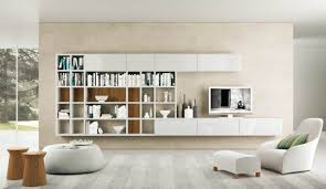 Modern Living Room With Shelves Cream
