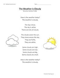 The Weather Is Cloudy Reading Comprehension Worksheet Kindergarten ...
