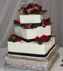 Black And White Cakes With Red Flowers Black White And Red