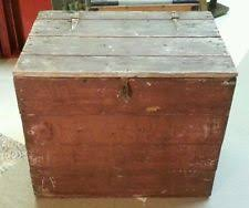 Antique Pine ICE BOX Chest * Old Red Paint * Great for Cabin Lodge Home  Firewood