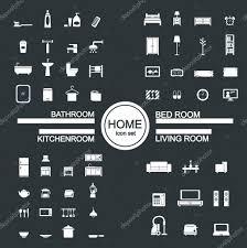 living room bedroom kitchen bathroom icon set vector by jacartoon