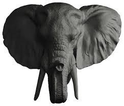 faux mounted elephant head standard black