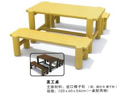 kindergarten kids wooden art desk use in preschool and daycare center with two chairs