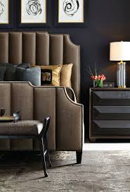 Bernhardt Interiors | Bayonne Upholstered Bed in channeled autumn leaf  brown velvet and antique brass nailhead
