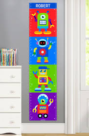 Cute Growth Chart Robots Personalized Kids Canvas Growth Chart
