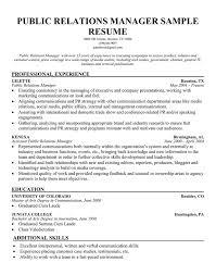Gallery Of Public Relation Manager Resume Sample Pr Resume Public