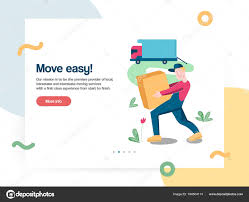 Cargo Web Design Web Design Template Vector With Mover Worker Helps With