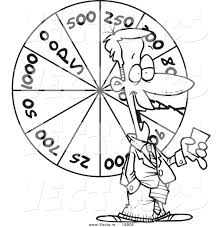 Small Picture Vector of a Cartoon Game Show Host with a Wheel Outlined