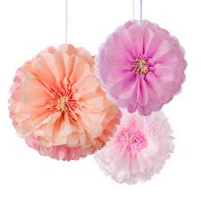 Hanging Pom Pom Decorations 3 X Large Paper Pastel Flower Fluffy Hanging Party Decorations