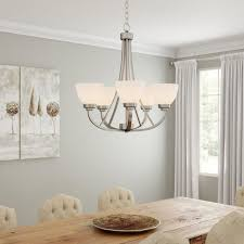 hampton bay hastings 5 light brushed steel chandelier w white glass shades new