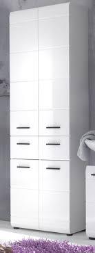 Bad Stauraum Schrank Badezimmer Hochschrank Groß Weiß Hochglanz