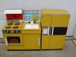 stove and refrigerator set. vintage kids wooden pretend play kitchen stove oven sink refrigerator and set