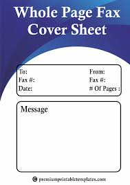Whole Page Fax Cover Sheet Templates