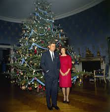 President John F. Kennedy and First Lady Jacqueline Kennedy with Christmas  Tree