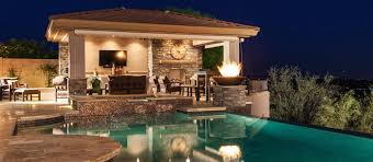 Pool Landscape Design Negative Edge Pool Spa Outdoor Kitchen Ramada Fireplace