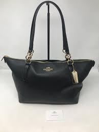 coach black leather tote bag shoulder purse nwt