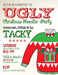 Christmas Holiday Invitations Ugly Sweater Holiday Christmas Party Invitation Tacky