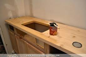 wood plank countertops dark stained with an sink wood look tile countertops