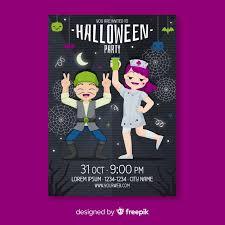 Halloween Dance Flyer Templates Dancing People Halloween Flyer Template Vector Free Download