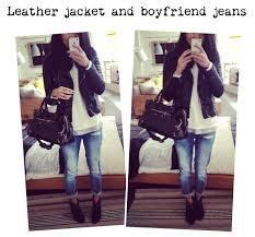 ootd biker leather jacket and boyfriend jeans