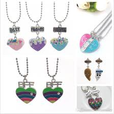 whole kids friendship best friends forever love heart charms pendants necklaces chain for children jewellery glass pendant necklaces erfly pendant