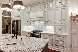 white ghost kitchen backsplashes with white smoke wall mount cabinet with bronze knob doors