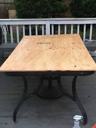 too thick or heavy of a piece of wood since the tile will make it heavy and you don t want to add too much weight to the raggedy outdated patio table