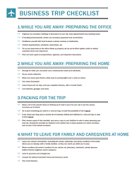 34 Business Travel Checklist Template – Business Plan Examples