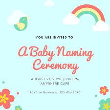 Blue Rainbow Icons Baby Naming Ceremony Invitation
