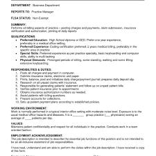 Billing Clerk Job Description For Resume Medical Billing Clerk Resume Krida 24