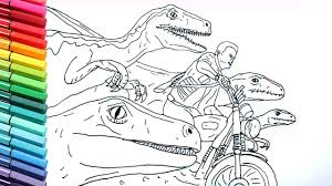 Drawing And Coloring Jurrasic World Raptor And Motorbike Dinosaurs