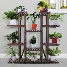 17 pot multi tier wooden plant stand